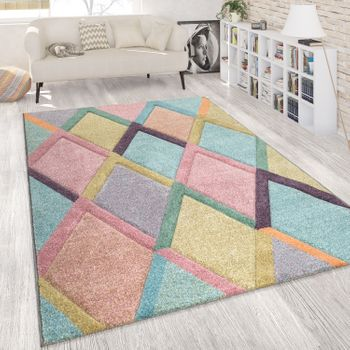 Tapis Colourful Living Room Diamonds Pattern Pastel Pastel Colours 3-D Design Soft Short Pile – Bild 1