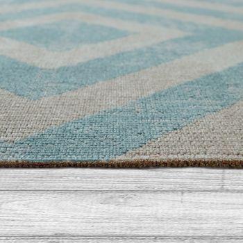 Outdoor Rug Blue White Balcony Terrace Diamond Pattern Scandinavian Design – Bild 2