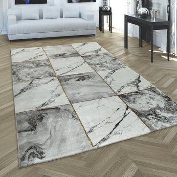 Carpet Living Room Grey Gold Soft Diamonds Pattern Marble Design Mottled Short Pile – Bild 1