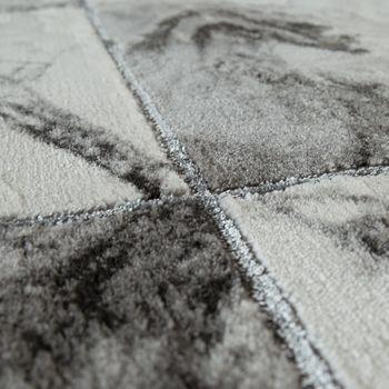 Carpet Grey Silver, Living Room Bedroom, Diamonds Marble Pattern, Short Pile, Robust – Bild 3