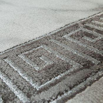 Living Room Carpet Grey Silver Anthracite Border Marble Pattern Soft Short Pile – Bild 3