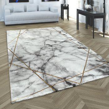 Living Room Carpet Grey Gold Marble Pattern 3-D Lines High Quality Short Pile – Bild 1