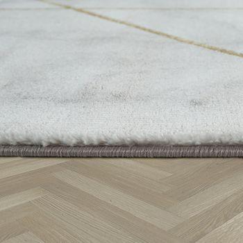 Alfombra Sala de Estar Oro- Gris Diseño de Mármol Suave Líneas en 3-D Alta Calidad Pelo Corto – Bild 2