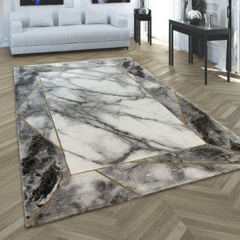 Alfombra de salón Oro- Gris, Diseño de mármol en 3-D, Resistente, Pelo corto – Bild 1