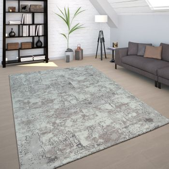 Living Room Rug Grey Concrete Design Used Look Industrial Style Robust Short-Pile – Bild 1
