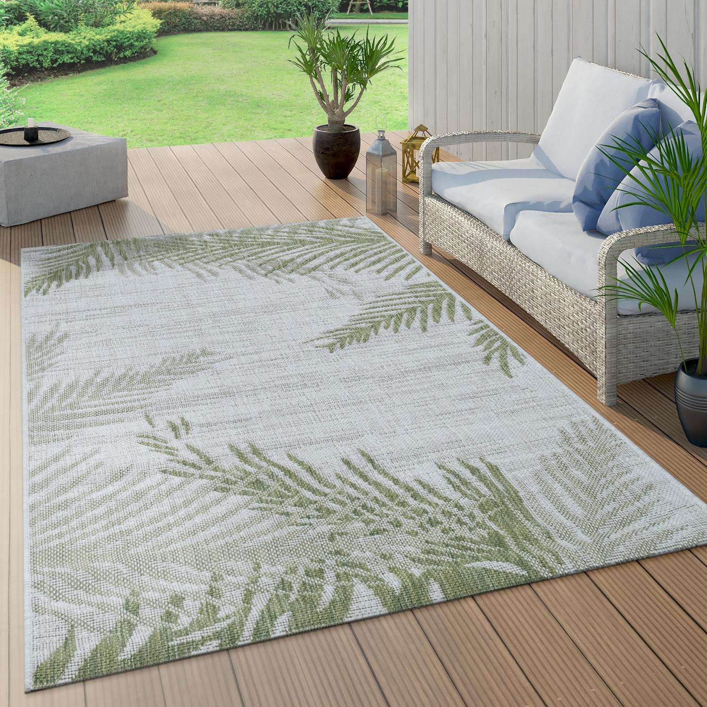 In- & Outdoorteppich Beige Grün Palmen Design Balkon Terrasse Robust Wetterfest