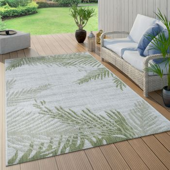 Indoor & Outdoor Rug Beige Green Palms Design Balcony Terrace Robust Weatherproof – Bild 1