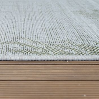 Indoor & Outdoor Rug Beige Green Palms Design Balcony Terrace Robust Weatherproof – Bild 2