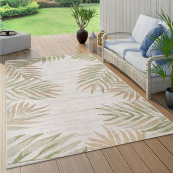 Indoor & Outdoor Rug Beige Green Balcony Terrace Palms Leaves Pattern Robust – Bild 1
