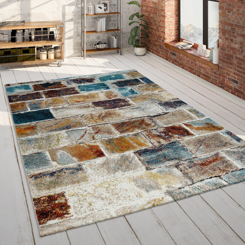 Wohnzimmer Teppich Stein Optik Rauten Muster Bunt