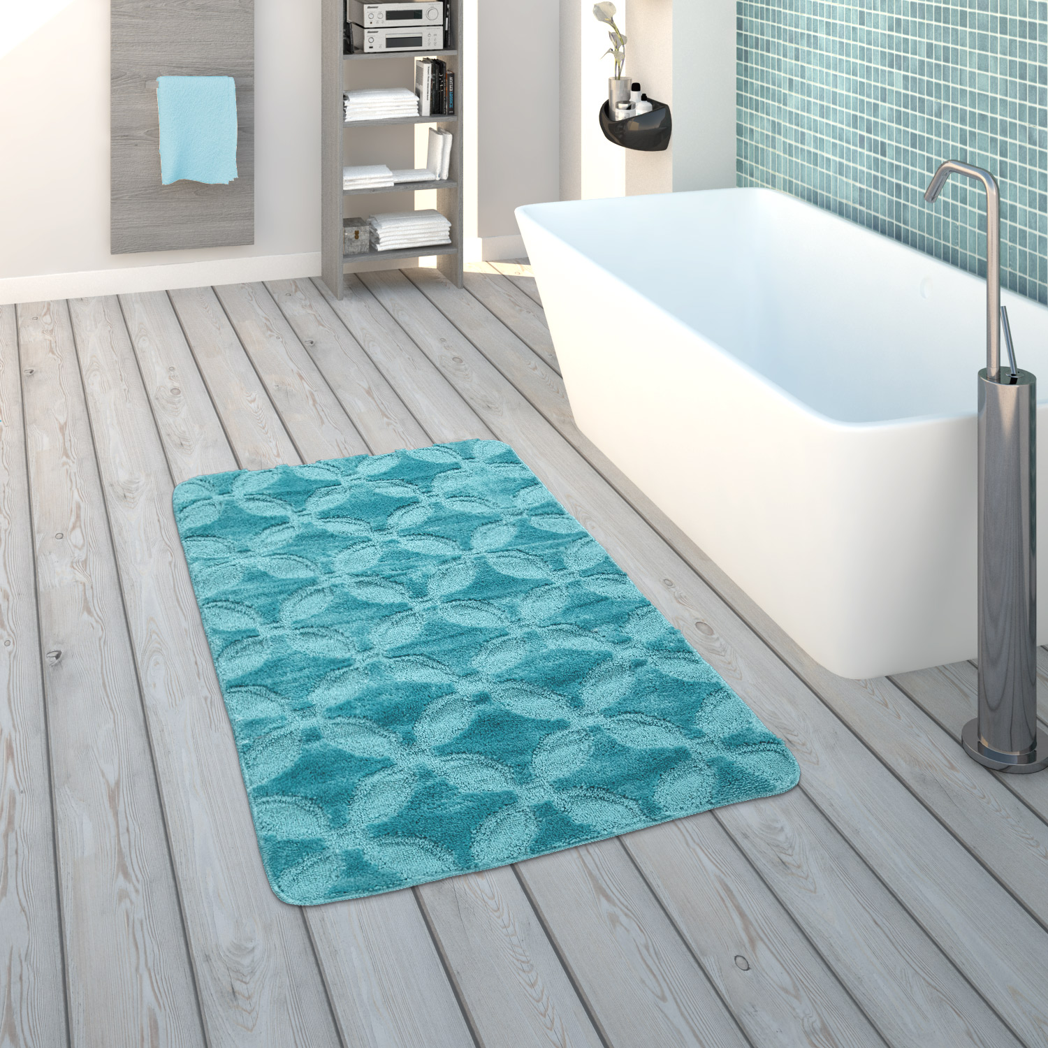 Bath Mat, Short-Pile Rug For Bathrooms Monochrome Circle Pattern, In Turquoise