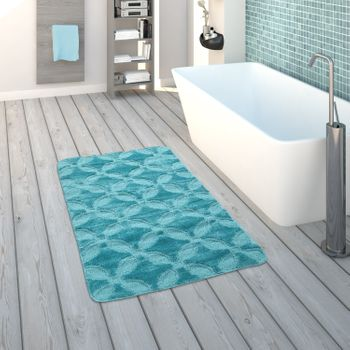 Bath Mat, Short-Pile Rug For Bathrooms Monochrome Circle Pattern, In Turquoise – Bild 1