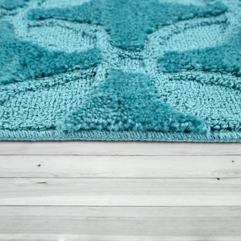 Bath Mat, Short-Pile Rug For Bathrooms Monochrome Circle Pattern, In Turquoise – Bild 2