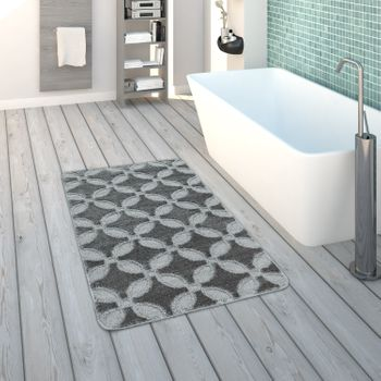 Bath Mat, Short-Pile Rug For Bathrooms Monochrome Non-Slip, In Grey – Bild 1