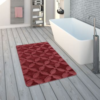 Bath Mat, Short-Pile Rug For Bathrooms Monochrome Non-Slip, In Red – Bild 1