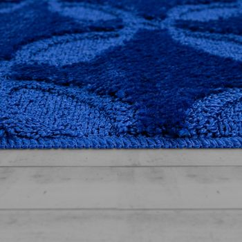 Bath Mat, Short-Pile Rug For Bathrooms, Monochrome Non-Slip, In Blue – Bild 2