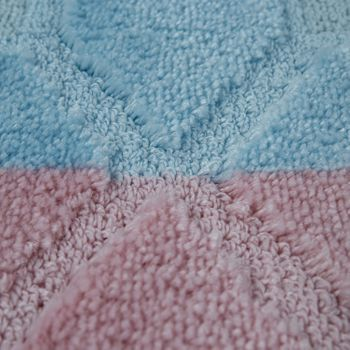 Bath Mat, Short-Pile Rug For Bathrooms Check Pattern, In Pastel Blue Pale Pink – Bild 3