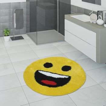 Bath Mat, Short-Pile Rug For Bathroom With Smileys, Emoji Motif In Yellow – Bild 1