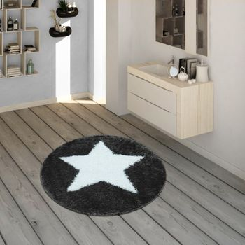 Bath Mat, Round Short-Pile Rug For Bathrooms With Star Motif In Grey – Bild 1