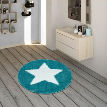 Bath Mat, Round Short-Pile Rug For Bathrooms With Star Motif In Turquoise – Bild 1