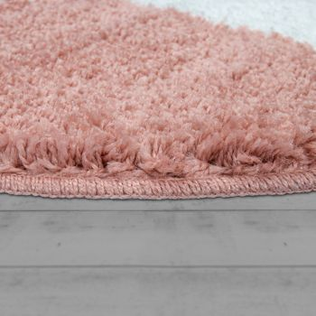 Bath Mat, Round Short-Pile Rug For Bathrooms With Star Motif In Pale Pink – Bild 2