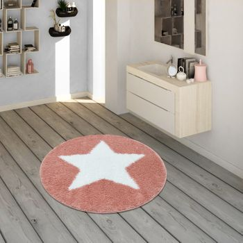 Bath Mat, Round Short-Pile Rug For Bathrooms With Star Motif In Pale Pink – Bild 1