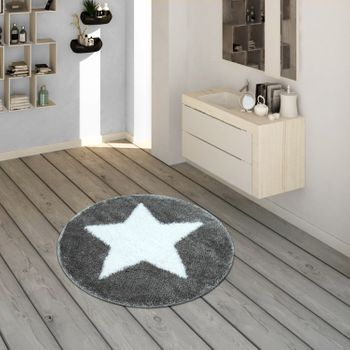 Bath Mat, Round Short-Pile Rug For Bathrooms With Star Motif In Grey White – Bild 1