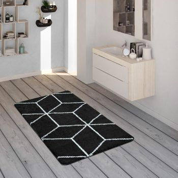 Bath Mat, Short-Pile Rug For Bathrooms With Diamond Pattern In Black White – Bild 1