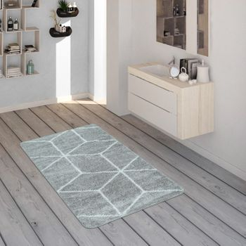 Bath Mat, Short-Pile Rug For Bathrooms With Diamond Pattern In Grey White – Bild 1