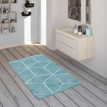 Bath Mat, Short-Pile Rug For Bathrooms With Diamond Pattern In Turquoise White – Bild 1