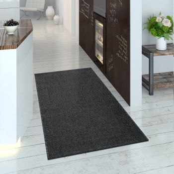 Indoor & Outdoor Rug for Balcony and Terrace, Flat Weave with Border in Black – Bild 2