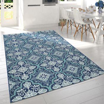 Alfombra Interior Exterior Floral Oriental Azul