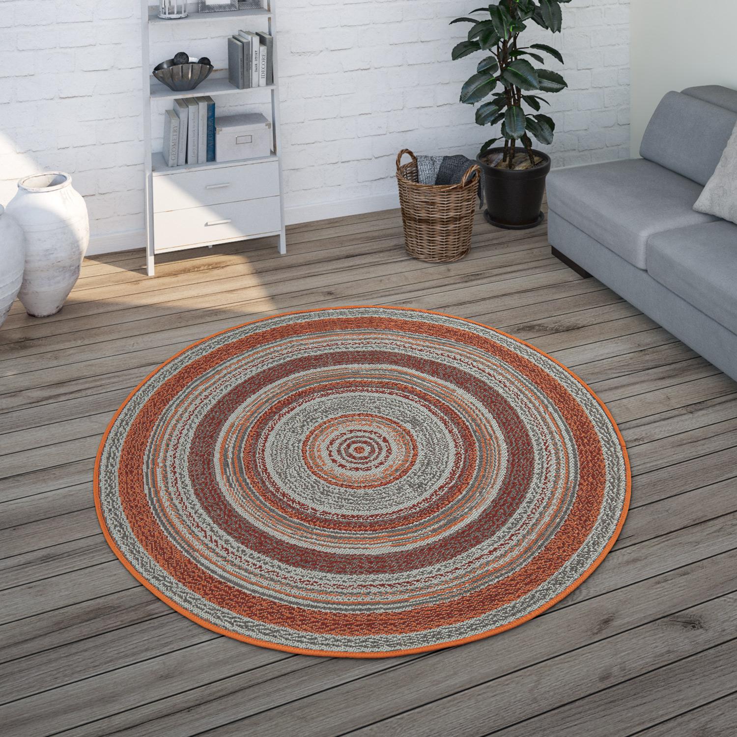 In- & Outdoor-Teppich Rund Ethno-Design Braun