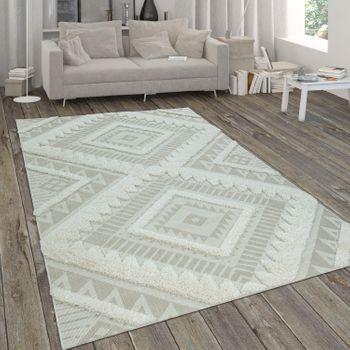 Indoor & Outdoor Rug, Flat Weave With Deep-PiIe Contrast, Ethnic Pattern In Beige – Bild 1