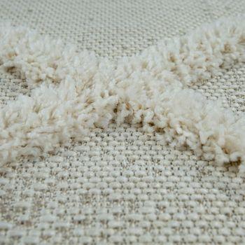 Indoor & Outdoor Rug, With Deep-Pile Contrast And Diamond Pattern, In Beige – Bild 3
