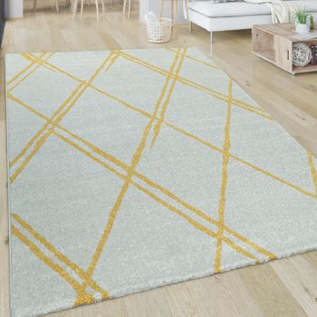 Living Room Rug, Short-Pile With Scandi Design And Diamond Pattern, In White Yellow – Bild 1