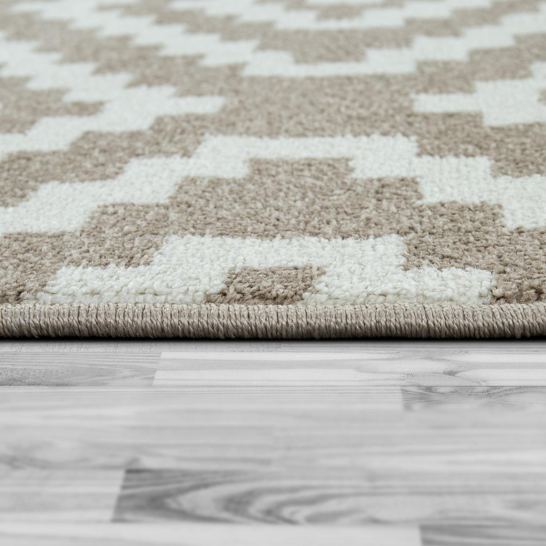 SALE Wohnzimmerteppich moderner Boho Ethno Style Grau mit Rauten Muster