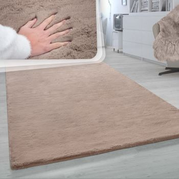 Deep-Pile Rug, Shaggy Rug For Living Rooms, Soft Monochrome, In Beige – Bild 1
