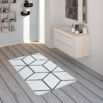 Bath Mat, Short-Pile Rug For Bathrooms With Diamond Pattern In Anthracite White – Bild 1