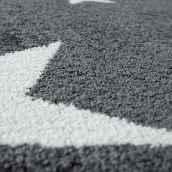 Robusto tappeto a pelo corto per la camera dei bambini in grigio antracite con motivo a stelle – Bild 3