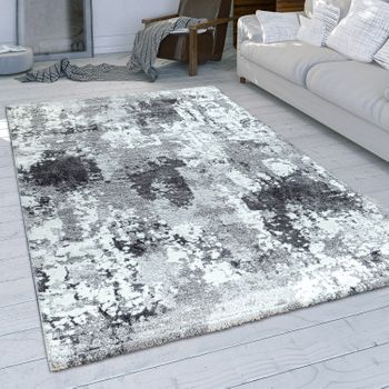 Short-Pile Rug Used Look Grey White