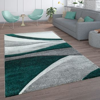 Living Room Rug Wavy Lines Grey Green