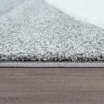Living Room Rug, Short Pile With Wavy Pattern, In Dark Grey Light Grey Green – Bild 2