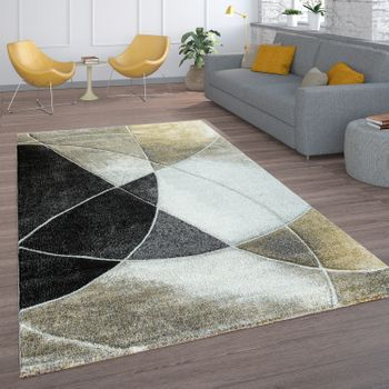 Living Room Rug, Short-Pile With Retro Pattern And Lines, In Black Beige Gold – Bild 1