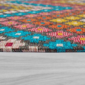 Living Room Rug, Short-Pile With Zigzag Pattern, In Colourful Pastel Colours – Bild 2