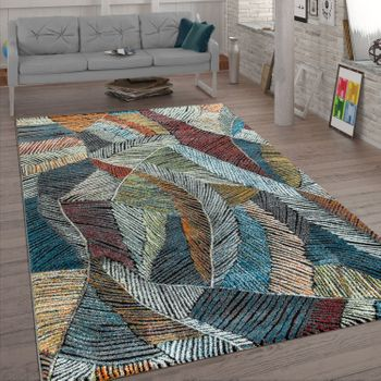 Living Room Rug, Short-Pile With Chalk Design, Pastel Colours 3D Look, In Bright Colours – Bild 1