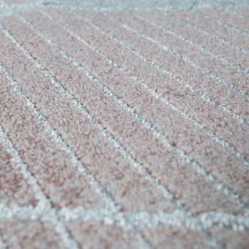 Living Room Carpet, Short Pile With Lines And Diamond Pattern, In Pastel Pink – Bild 3
