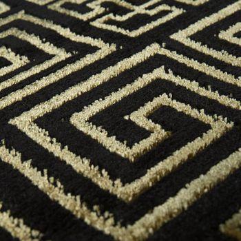 Living Room Rug, Short-Pile With Golden Designer Border In Black – Bild 3