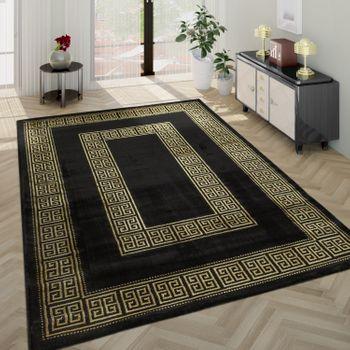 Living Room Rug, Short-Pile With Golden Designer Border In Black – Bild 1