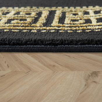 Tappeto per soggiorno, a pelo corto con bordatura di design dorata, in nero – Bild 2